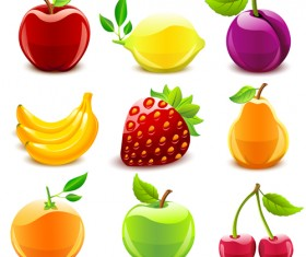 Elements of Various Glossy fruit vector 03