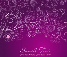 Hand drawn Purple Floral Backgrounds vector 02