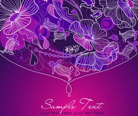 Hand drawn Purple Floral Backgrounds vector 05