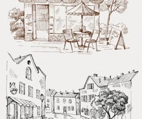 Hand drawn vintage cafe vector 01