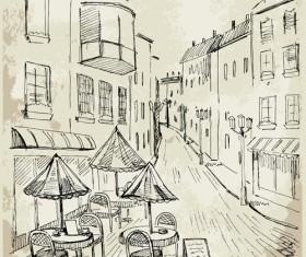 Hand drawn vintage cafe vector 03