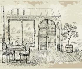 Hand drawn vintage cafe vector 04