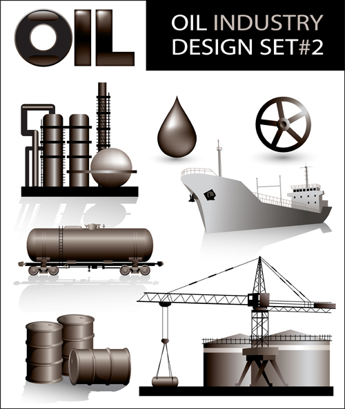 Oil industry design elements vector 01