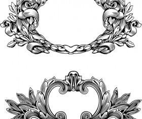 Elements of Vintage frames vector set 01