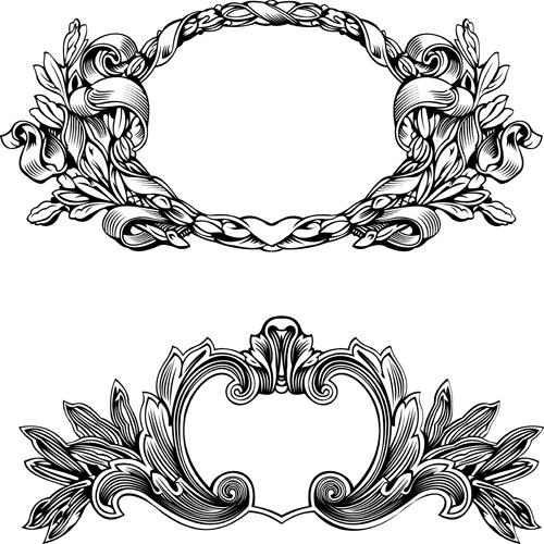 Elements of Vintage frames vector set 01 free download