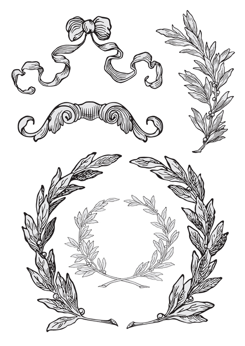 Elements of vintage frames vector set 06