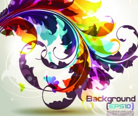 Pretty and colorful floral elements backgorund vector 05