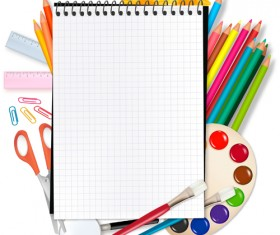 Set of Back to School elements background vector 01