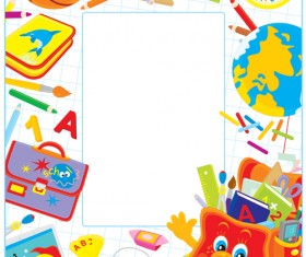 Set of Back to School elements background vector 02