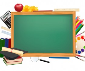 Set of Back to School elements background vector 03