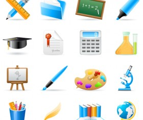Set of Back to School elements icon vector 04