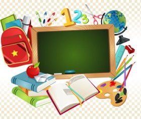 Set of Back to School elements background vector 05