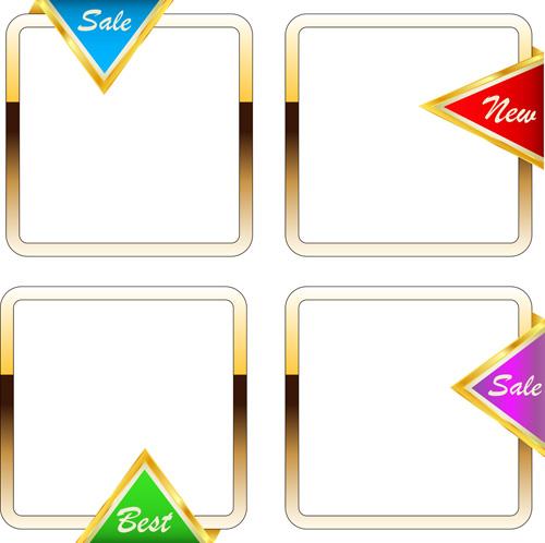 Set of Gold Shopping Frames vector