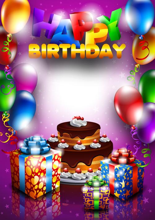 Set Of Happy Birthday Postcards Design Elements Vector 03