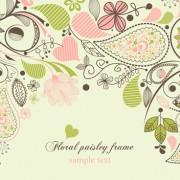 Link toSet of floral paisley elements frame vector 02