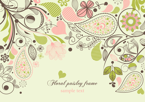 Set of floral Paisley elements frame vector 02