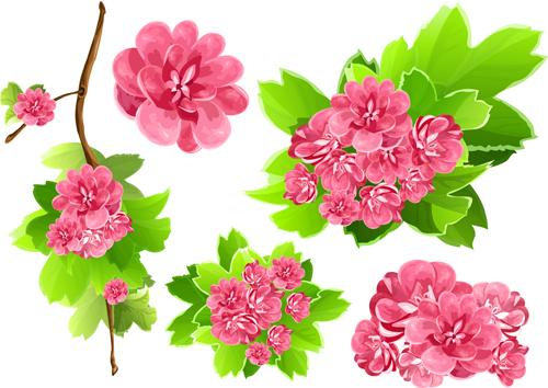 Vivid Open flowers vector 03