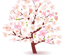 Different Spring tree elements vector 04