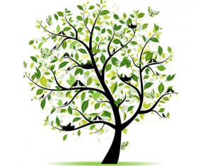 Different Spring tree elements vector 05