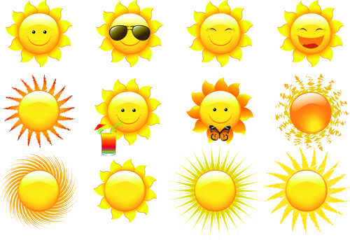 elements of summer sun vector art 02 - vector other free download