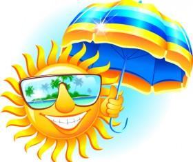 Elements of Summer Sun vector art 07