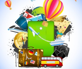Creative Travel elements vector art 03