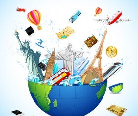 Creative Travel elements vector art 04