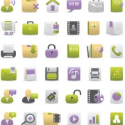 Link toVivid violet and green icons vector