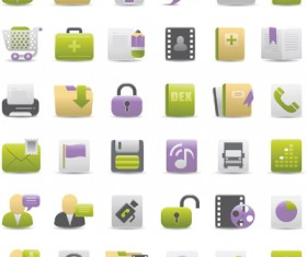 Vivid Violet and Green Icons vector