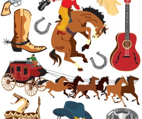 Set of Wild West elements vector 03