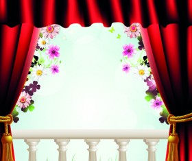Set of Windowsill and red curtains vector 01