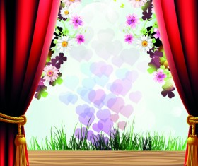 Set of Windowsill and red curtains vector 02