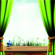 Link toSet of windowsill and red curtains vector 03