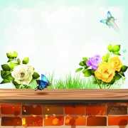 Link toWindowsill with flower vector 03