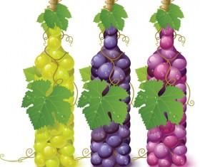 Vivid grapes elements vector background art 02