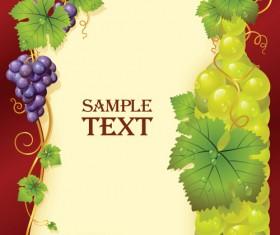 Vivid grapes elements vector background art 03