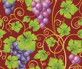 Vivid grapes elements vector background art 04
