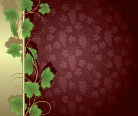 Vivid grapes elements vector background art 05