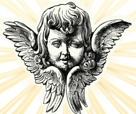 Vintage angels Statue vector 01