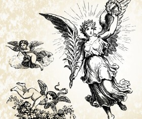 Vintage angels Statue vector 04
