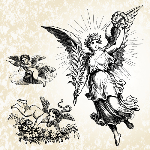 Vintage Angels Statue Vector 04 Free Download