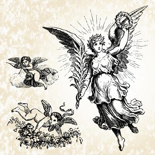 Vintage Angels Statue Vector 04 Free Download
