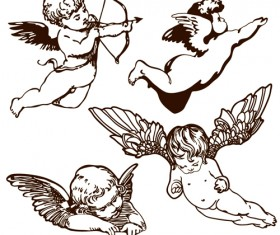 Vintage angels Statue vector 05