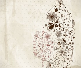 Hand drawn Retro flower Decoration background vector 02