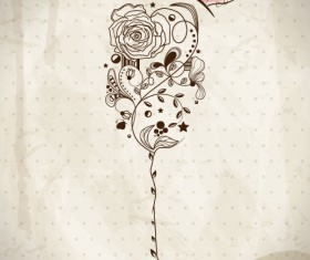 Hand drawn Retro flower Decoration background vector 03