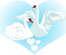 Vivid swans elements vector 02