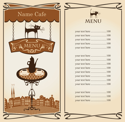 Vector of Vintage cafe menu background art 05 - Vector Background free ...