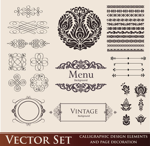 Vintage Calligraphic And Decoration Borders Vector 01
