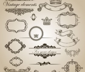 Vintage Calligraphic and decoration Borders vector 02