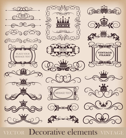 Vintage Calligraphic And Decoration Borders Vector 04